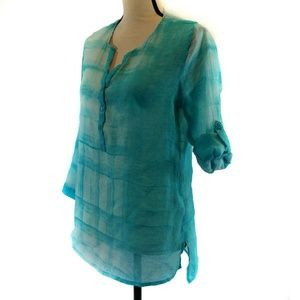 Grand & Green Popover Top Small Blue Plaid
